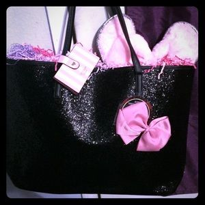 BNWT! Sparkly Black TOTE/Card-Holder/Bow/Slippers